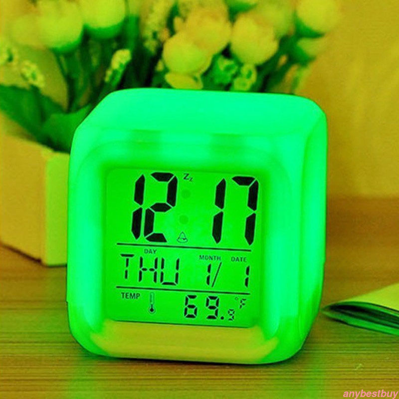 [해외]7 Color LED Change Digital Glowing Alarm Clock Night Light for Bedroom Child HOT  digital alarm clock  electronic gadgets/7 Color LED Change Digit