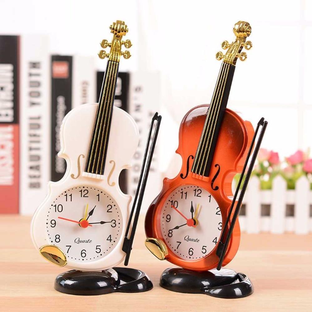 [해외]2 Colors Creative Instrument Table Clock Student Violin Gift Fiddle Quartz Alarm Clock Desk Plastic Craft Drop Shipping/2 Colors Creativ
