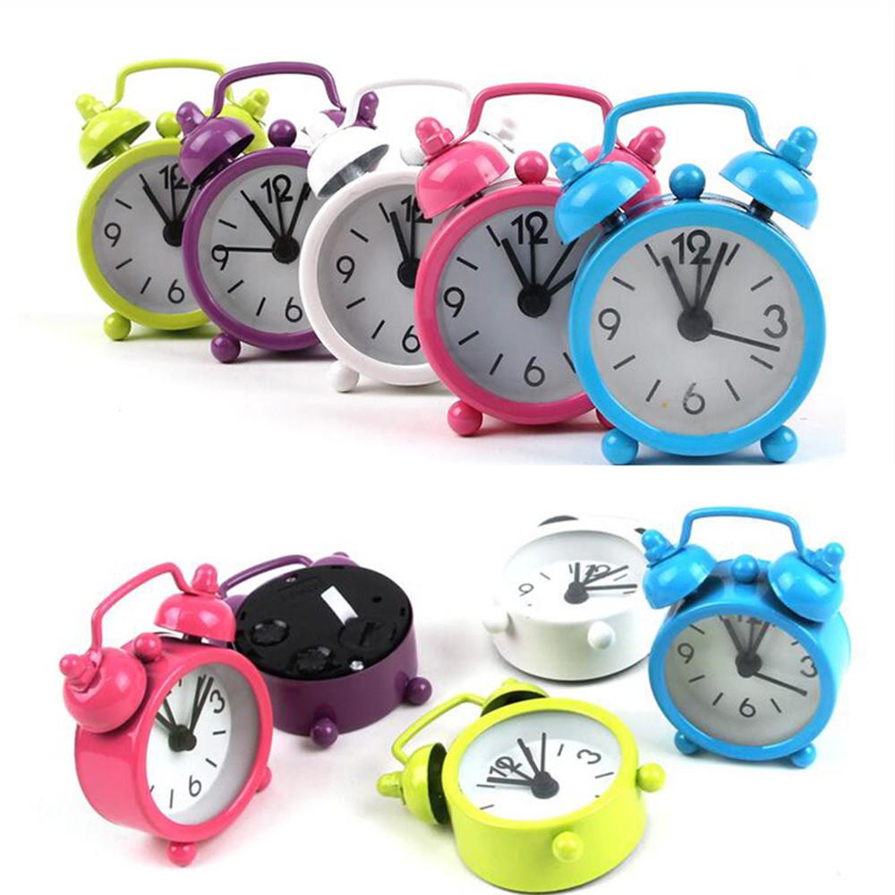 [해외]Retro Portable Cute Mini Cartoon Alarm Clock Round Number Double Bell Desk Table Digital Clock Home Decor sep30/Retro Portable Cute Mini