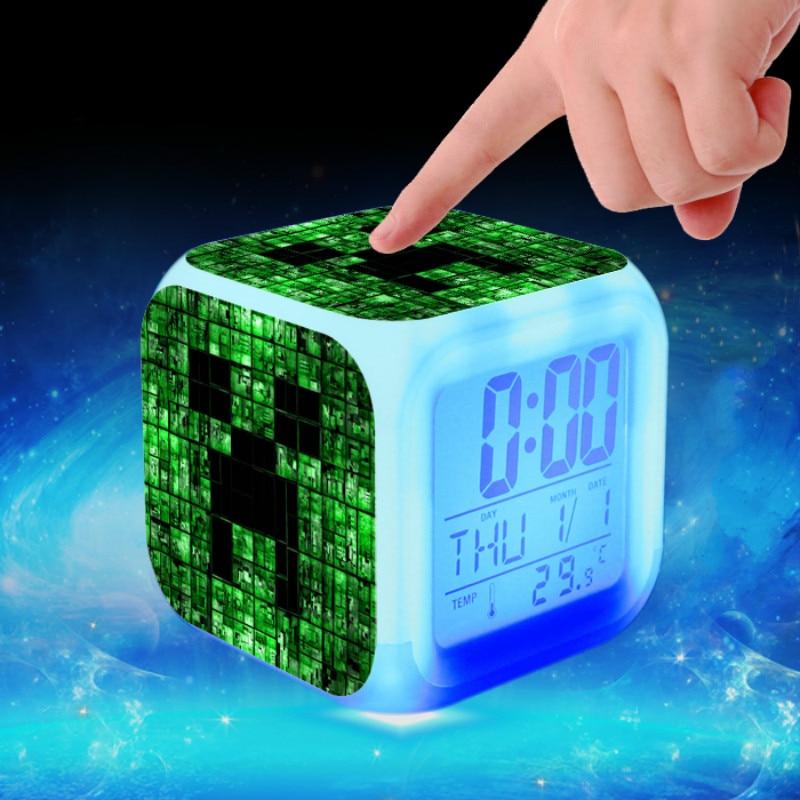 [해외]새로운 어린이 알람 시계 led 만화 klok 액션 완구 일어나 빛 전자 creeper 디지털 reloj despertador 테이블 reveil/새로운 어린이 알람 시계 led 만화 klok 액션 완구 일어나 빛 전자 creeper 디지털 r