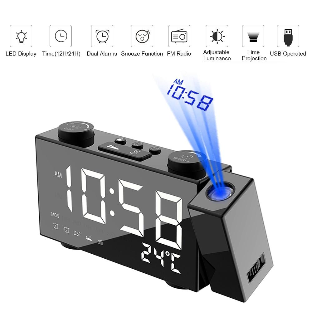 [해외]디지털 알람 시계 스누즈 온도계와 fm 프로젝션 라디오 알람 시계 테이블 시계 usb led 알람 시계 홈 인테리어/디지털 알람 시계 스누즈 온도계와 fm 프로젝션 라디오 알람 시계 테이블 시계 usb led 알람 시계 홈 인테리어