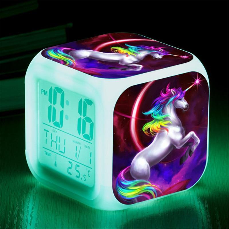 [해외]아이 귀여운 만화 유니콘 알람 시계 7 색 변경 밤 빛 led 디지털 알람 시계 온도계와 학생 책상 시계/아이 귀여운 만화 유니콘 알람 시계 7 색 변경 밤 빛 led 디지털 알람 시계 온도계와 학생 책상 시계