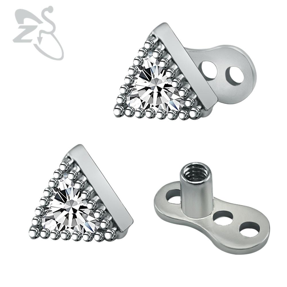 [해외]새 도착 크리스탈 삼각형 모양 피부 앵커 피어 싱 쥬얼리 스테인레스 스틸 마이크로 탑 스킨 다이버 피부 앵커 4mm/New Arrival Crystal Triangle Shape Dermal Anchor Piercing Jewelry Stainless Steel