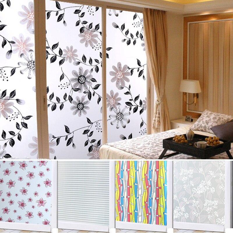 [해외]45*100 Waterproof PVC Frosted Glass Window Privacy Film Sticker Bedroom Bathroom Self Adhesive Film Home Decorative Film Mayitr/45*100 Waterproof