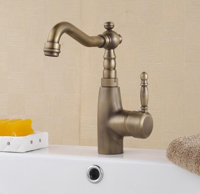 [해외] 따뜻한 음식과 차가운 골동품 황동 분지 믹서 수도꼭지/Free shipping hot and cold antique brass basin mixer faucet