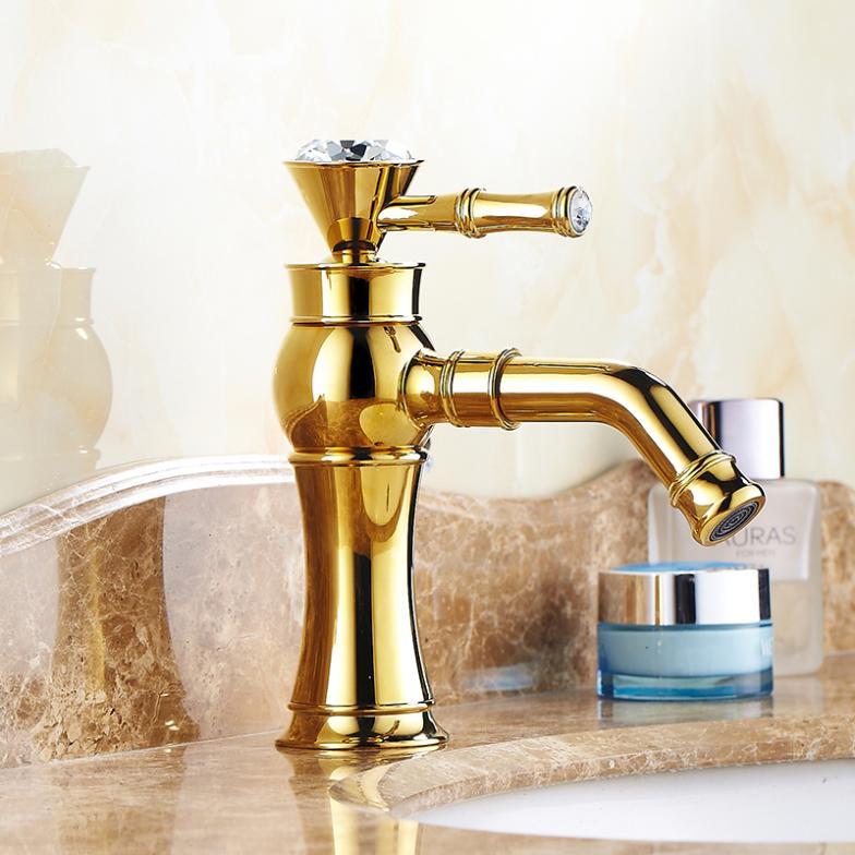 [해외] 따뜻한 음식과 차가운 황동 벽돌 황금 욕실 분지 믹서 수도꼭지/Free shipping hot and cold brass masonry golden bathroom basin mixer faucet
