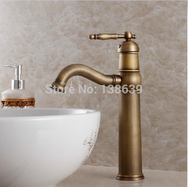 [해외] 고급 골동품 욕실 수도꼭지, 더위와 추위를 분지의 도청, 고전 황동 욕실 용기 믹서 수도꼭지-KF20을 닦았/Free shipping luxury antique bathroom faucet,hot and cold basin taps,classic brass b