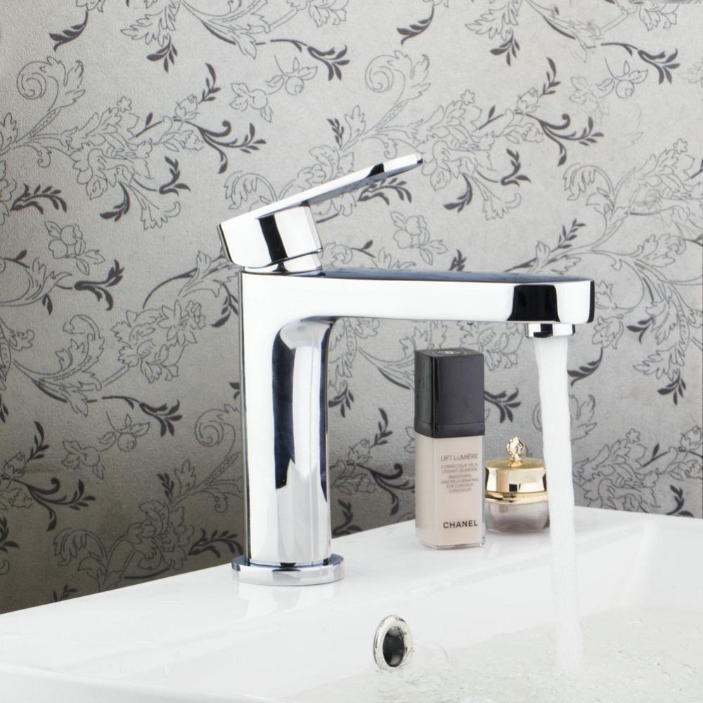 [해외]Monite 현대 디자인 크롬 광택 황동 욕실 분지 싱글 레버 수도꼭지 싱크 믹서 탭 온천과 차가운 도청 데크 장착/Monite Modern Design Chrome Polished Brass Bathroom Basin Single Lever Faucet  Si