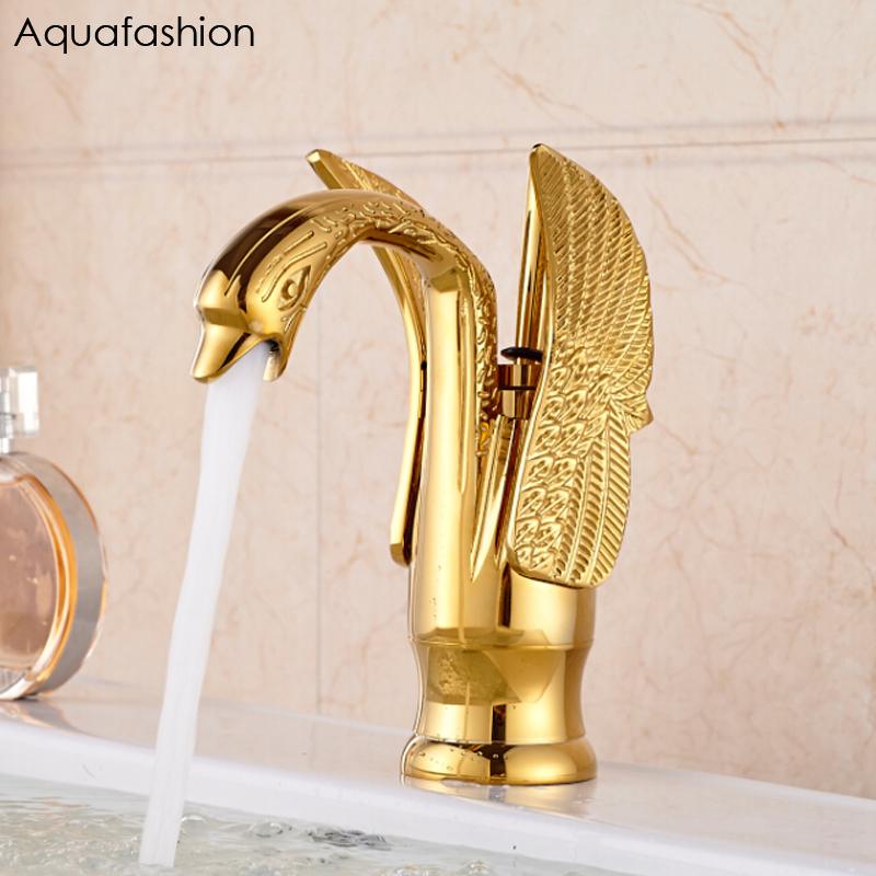 [해외]빈티지 스타일 백조의 수도꼭지 금 도금 씻어 분지의 수도꼭지 럭셔리 구리 골드 믹서는 따뜻한 것과 차가운 도청을 /Vintage Style Swan Faucet Gold Plated Wash Basin Faucet Luxury Copper Gold Mixer T