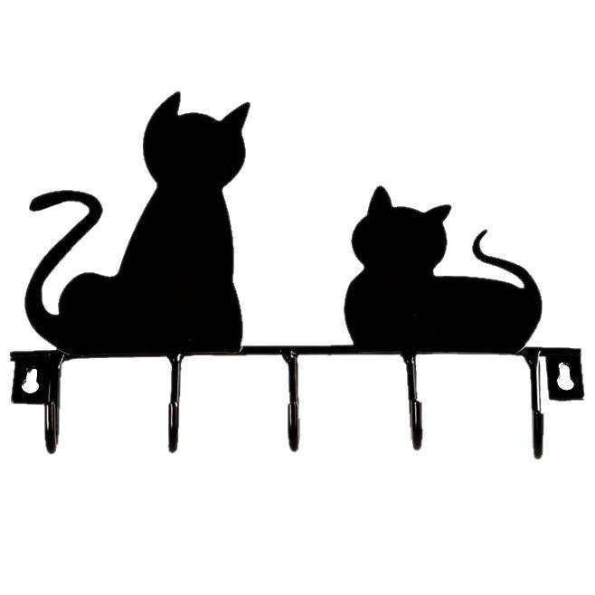 [해외]패션 검은 고양이 디자인 금속 철 벽 문 마운트 소박한 옷을 코트 모자 걸려 장식 벽 후크 로브 옷걸이/Fashion Black cat design Metal Iron Wall Door Mounted Rustic Clothes Coat hat key hangin