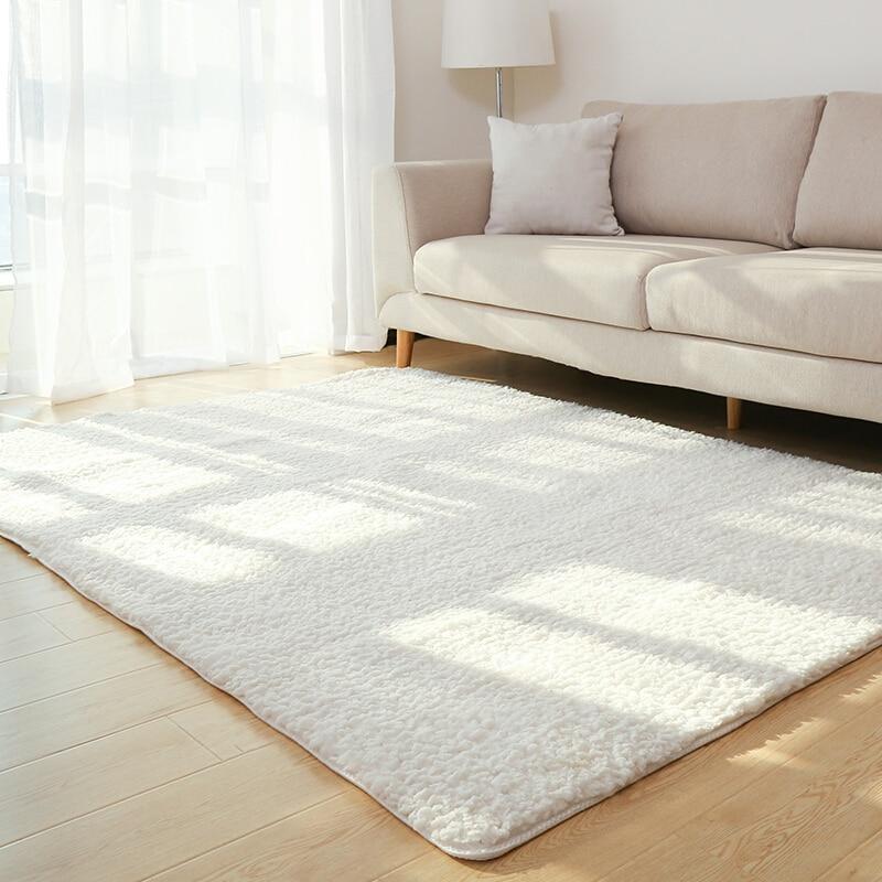 [해외]Living Room Rug Area Solid Carpet Fluffy Soft Home Decor White Plush Carpet Bedroom Carpet Kitchen Floor Mats White Rug Tapete/Living Room Rug Are