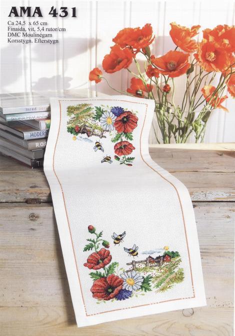 [해외]Top Quality lovely counted cross stitch kit tablecloth table cloth poppy flower flowers placemat/Top Quality lovely counted cross stitch kit table