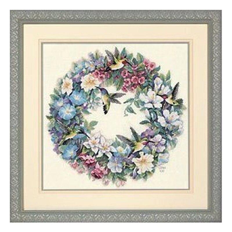 [해외]최고 품질 러블리 귀여운 십자가 스티치 키트 hummingbird 화환 꽃 화환 희미한 35132/최고 품질 러블리 귀여운 십자가 스티치 키트 hummingbird 화환 꽃 화환 희미한 35132