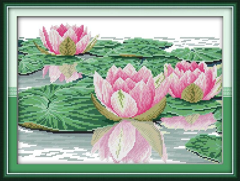 [해외]Beautiful lotus cross stitch kit flower 14ct printed fabric canvas stitching embroidery DIY handmade needlework/Beautiful lotus cross stitch kit f