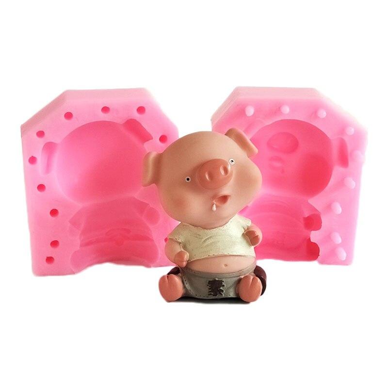 [해외]Sitting Pig Fondant Molds Liquid Silicone Soap Clay Candle Mold DIY Cake Decorating Chocolate Candy Cookie Mould Baking Tool/Sitting Pig Fondant M