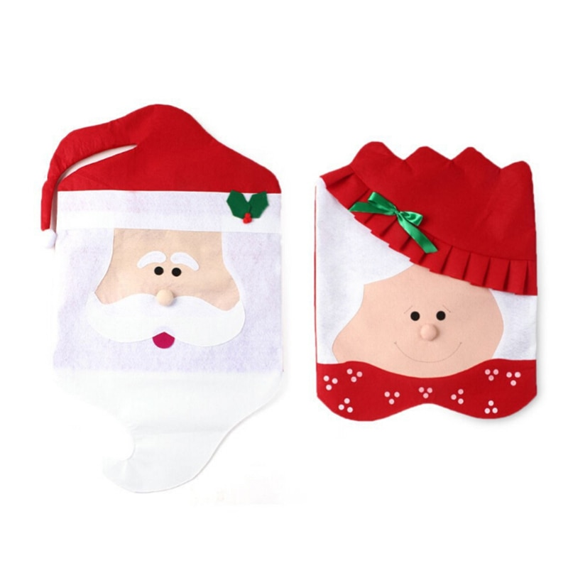 [해외]Christmas Decoration Chair Back Cover Set Decor New Year decorations Fashion Xmas Santa Red Hat Dinner Table Party Supplies/Christmas Decoration C