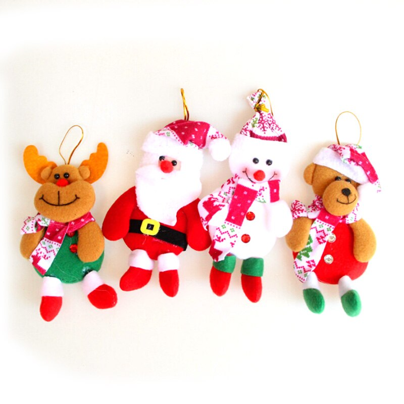 [해외]4PCS christmas tree decorations pendant home Xmas decoration lovely new Year gifts Santa Claus ornaments Snowman bear elk doll/4PCS christmas tree