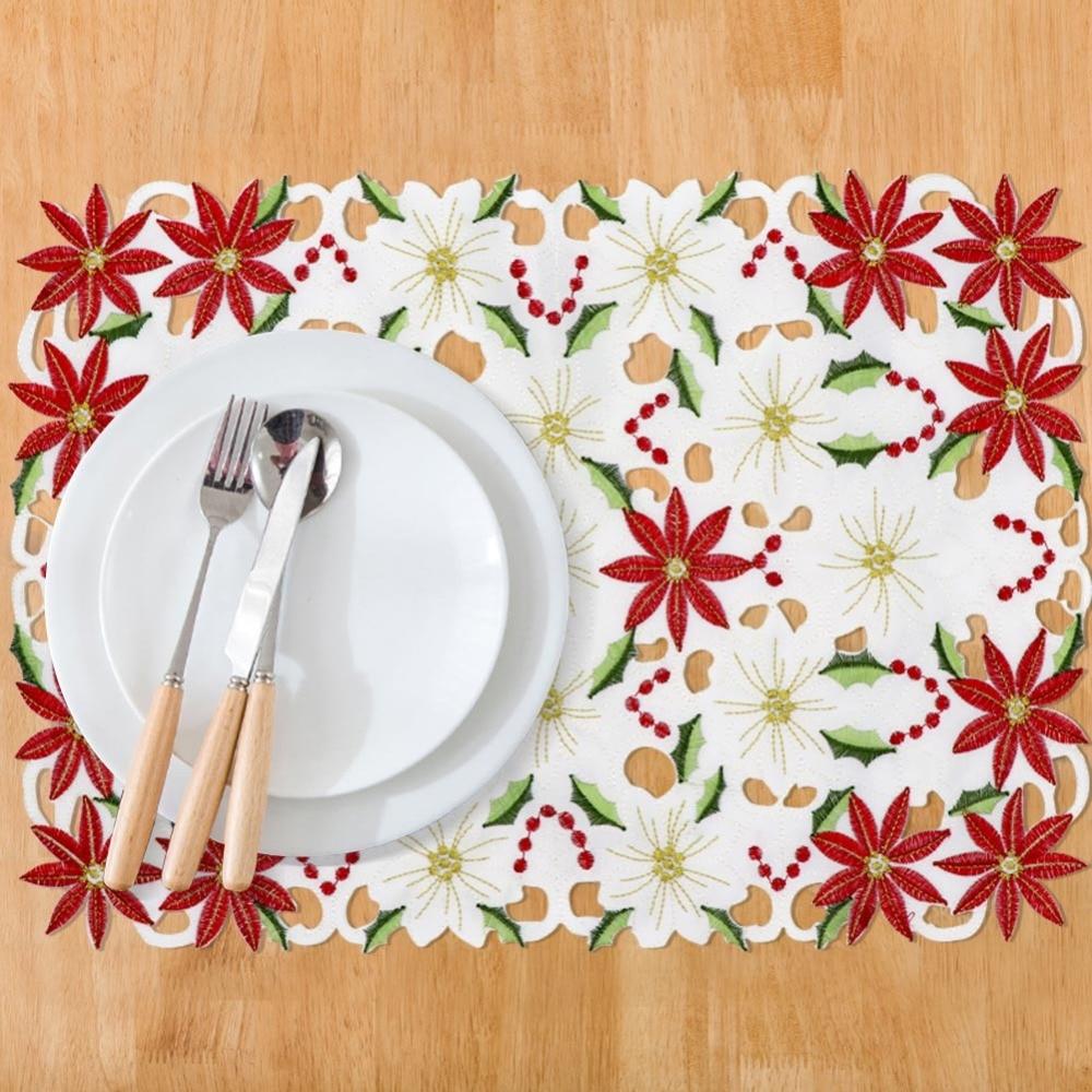 [해외]OurWarm 4pcs Christmas Table Decorations\t11x17 inch Polyester Poinsettia Embroidered Christmas Table Placemats/OurWarm 4pcs Christmas Table Decora