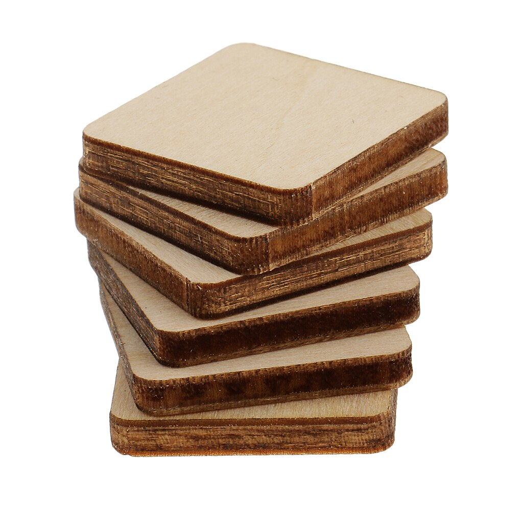 [해외]30 Piece Square MDF Unfinished Wood Pieces Blank Plaques for DIY Craft Pyrography 20x20mm Excellent For All Type Of Craft/30 Piece Square MDF Unfi