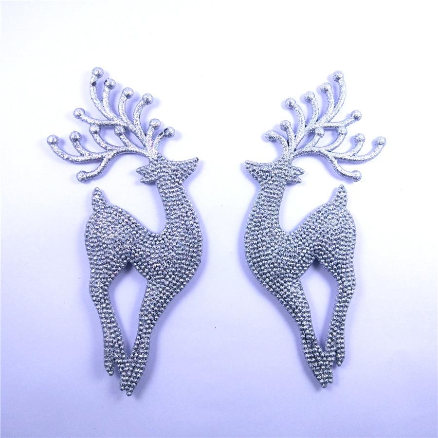 [해외]2 pcs 18 cm 사슴/엘크 크리스마스 트리 장식 매달려 장식 산타 클로스 반짝이 순 록 장난감 선물 장식 집에 대 한