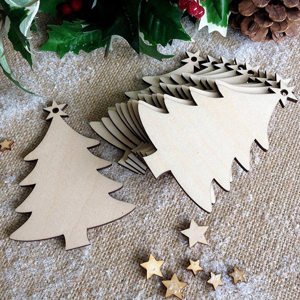 [해외]10pcs 크리스마스 트리 장식품 구멍, 나무 크리스마스 장식품 및 크리스마스를위한 공예와 미완성 된 나무 조각