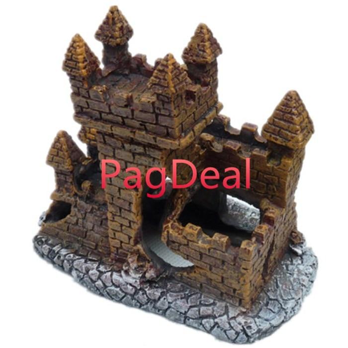 [해외]Aquarium Decoration Lost Castle For Fish Tank Resin Decorative Ornaments Ruin Fort Tower 4.7``*2.7``*3.9\