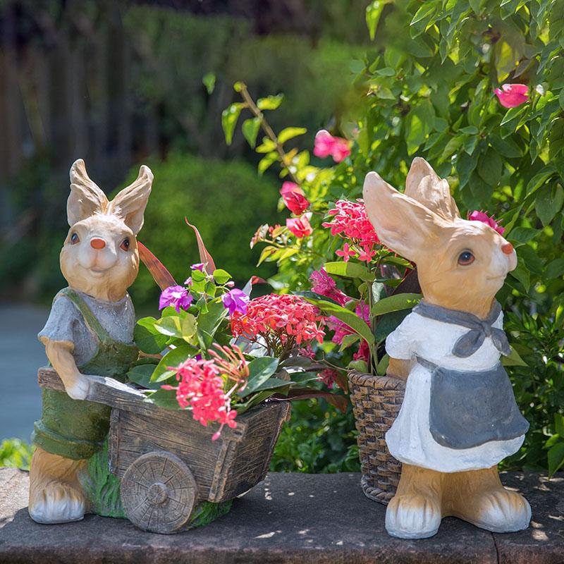 [해외]Resin Rabbit Flower Pot Plant Pot Planter Garden Decoration/Resin Rabbit Flower Pot Plant Pot Planter Garden Decoration