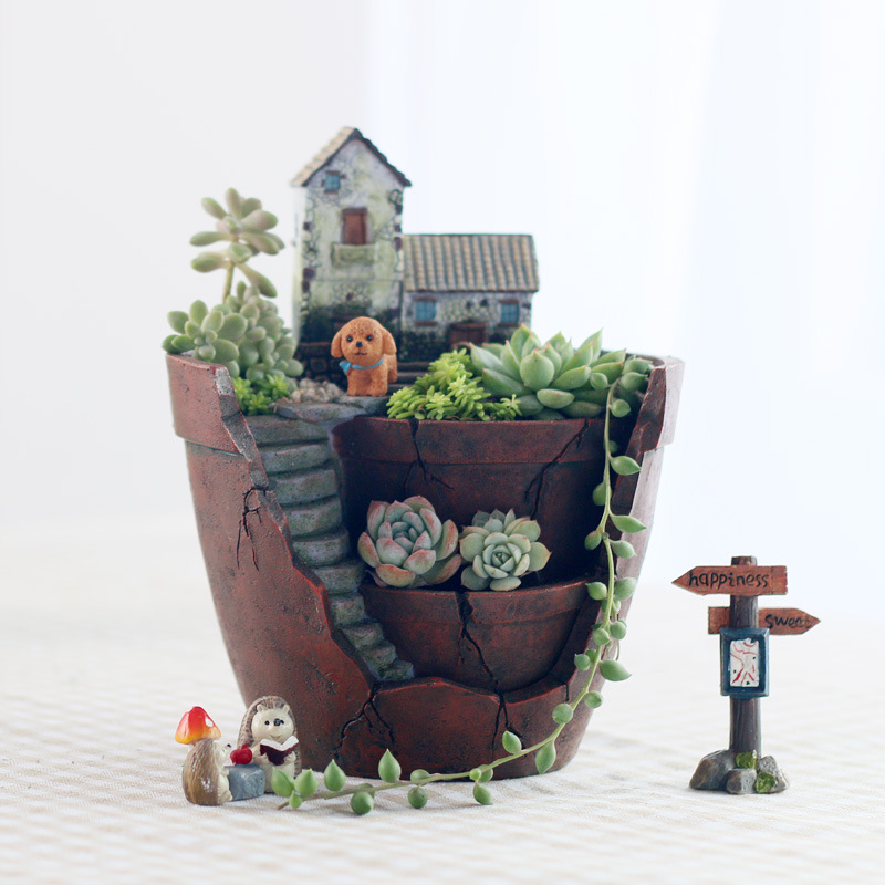 [해외]Originality Mini Air Garden Bonsai Plant Flower Pot Multilayer Multicapacity Process Flowerpot Resin Microlandschaft Decoration /Originality Mini