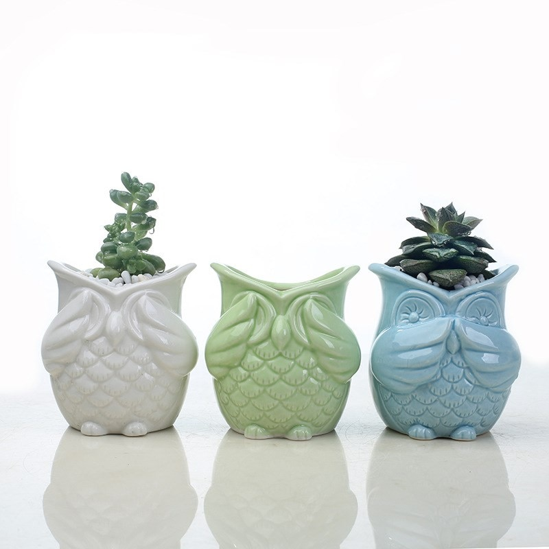 [해외]Creative Ceramic Owl Shape Flower Pots New Ceramic Planter Desk Flower Pot Cute Design Succulent Planter Minimalist Vase /Creative Ceramic Owl Sha