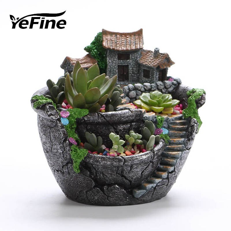 [해외]YeFine Cartoon Creative Flower Pot Desktop Landscape Plant Garden Flowers Baskets Succulents Plants Holder House Bonsai Pots/YeFine Cartoon Creati