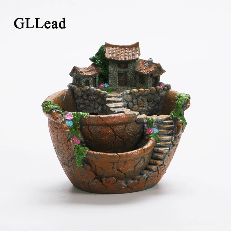 [해외]GLLead Cartoon Creative Bonsai Pots Desktop Landscape Plant Garden Flowers Baskets Flower Pot Succulents Plants Holder House /GLLead Cartoon Creat