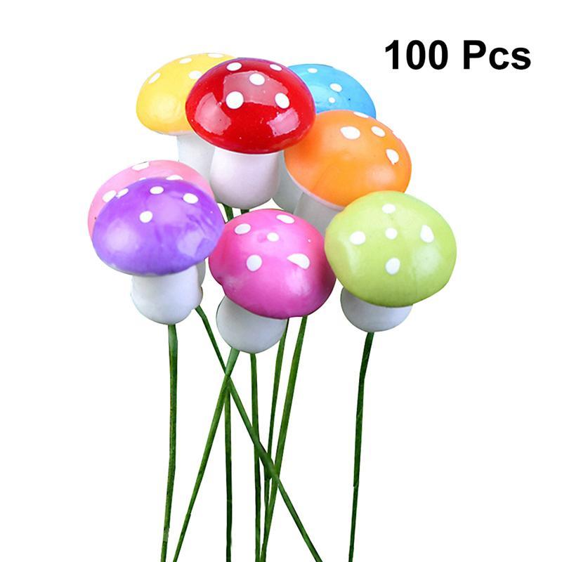 [해외]100PC Mini Foam Mushroom Garden Ornament Flower Pots Bonsai Micro Landscape Accessories Decoration/100PC Mini Foam Mushroom Garden Ornament Flower