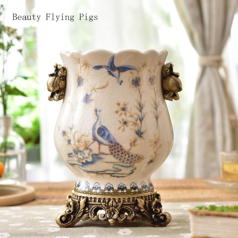 [해외]European retro luxury vase decoration home artificial flower arrangement high-end villa model room ceramic flower craft gift/European retro luxury