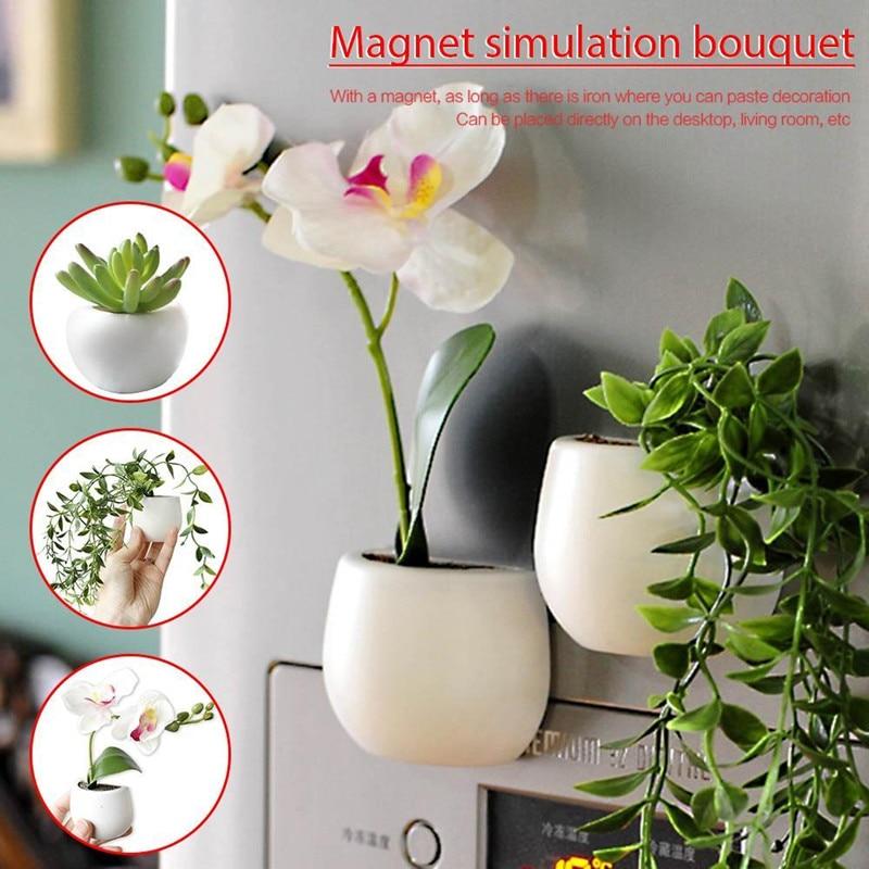[해외]Creative MINI Fridge Magnetic Flowers Pot Fridge Sticker Simulated Green Planting Succulent Plant Magnet Home Wall Decoration/Creative MINI Fridge