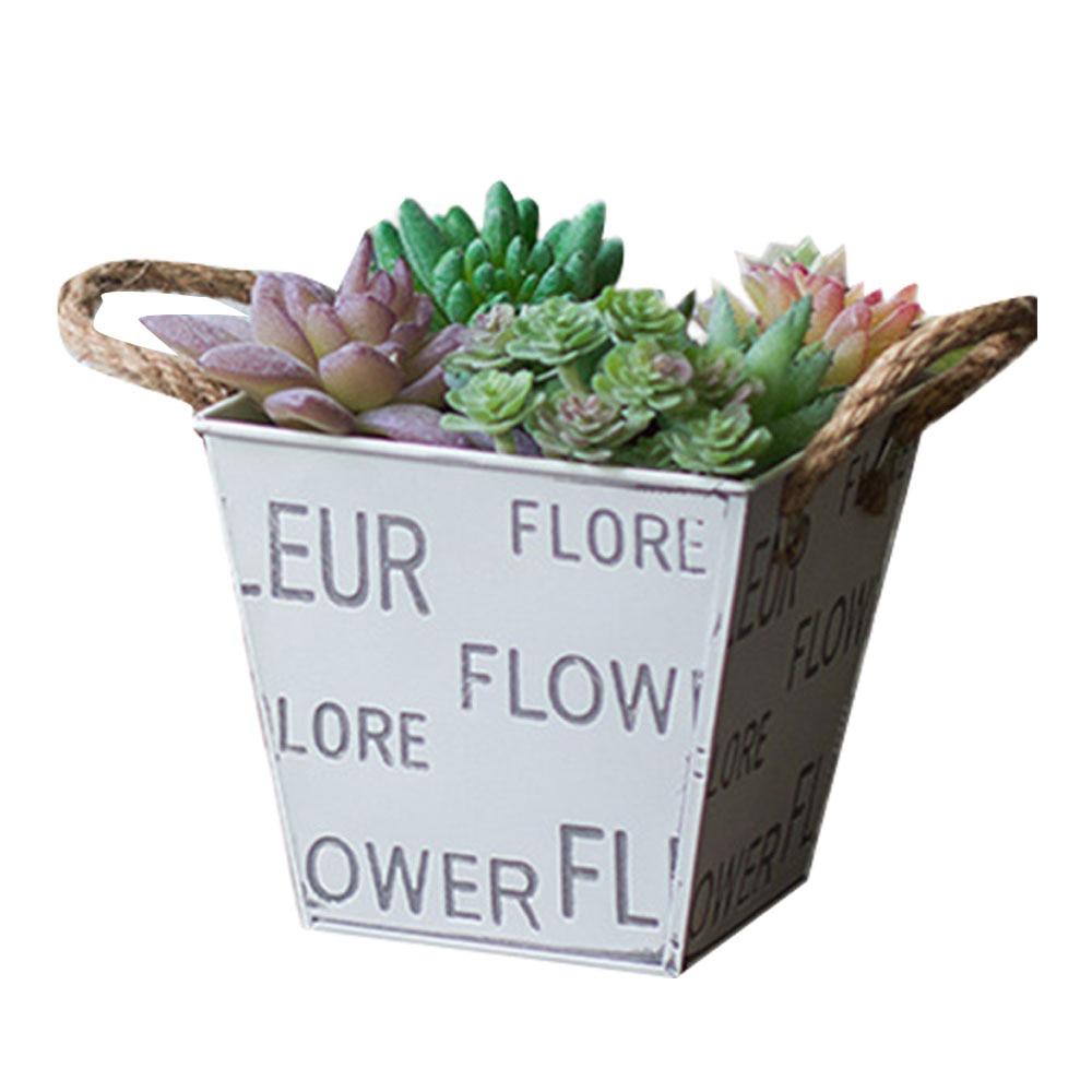 [해외]Flower & Garden Metal Bucket Tin Plant Planter Pot 24cm Vintage Galvanised Decor Metal Tin Succulent Flower Pot/Flower & Garden Metal Buck