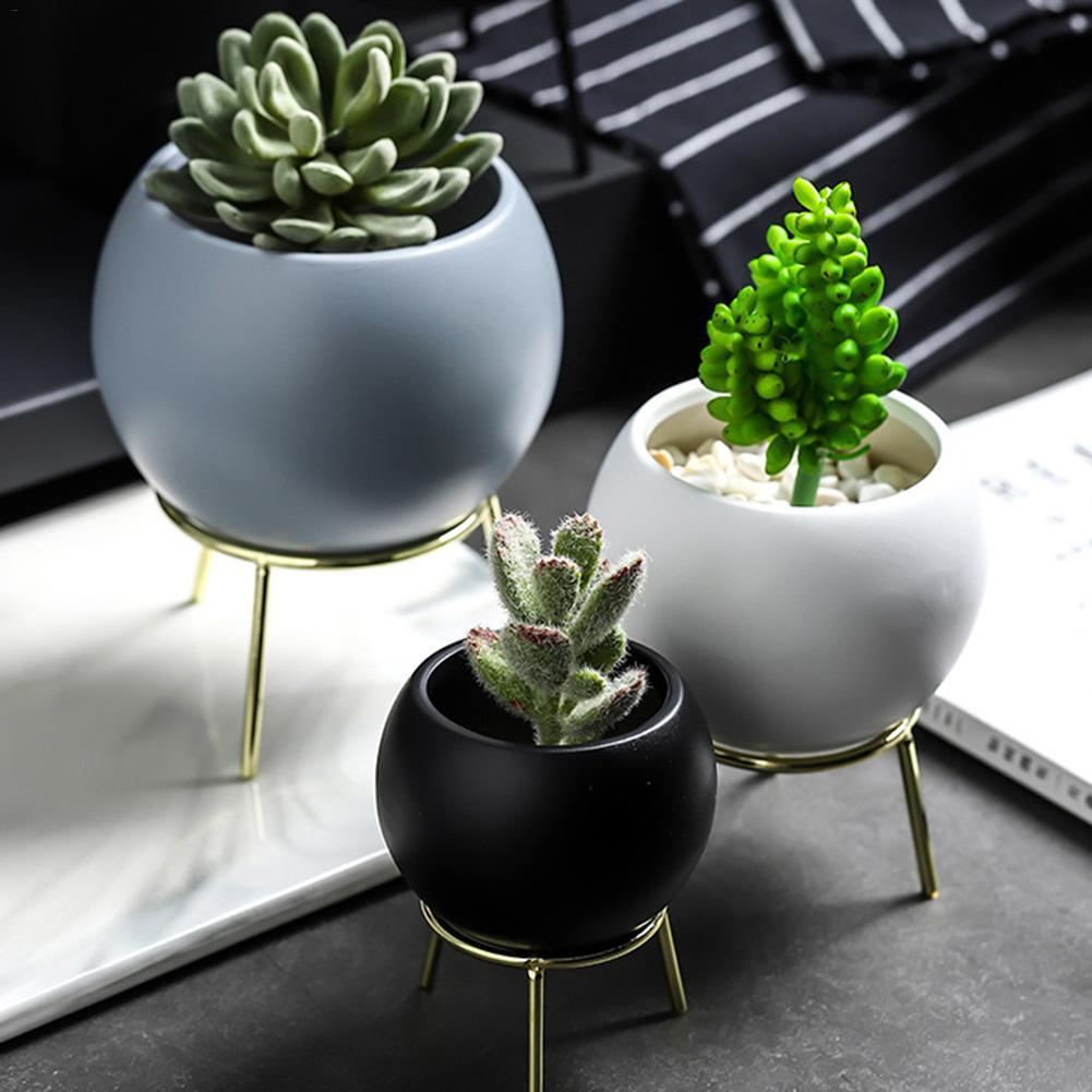 [해외]Ceramic Succulent Plant PotIron Rack Cactus Plant Pot Flower Pot Bonsai Container PlanterBamboo Tray Garden Decor/Ceramic Succulent Plant PotIron