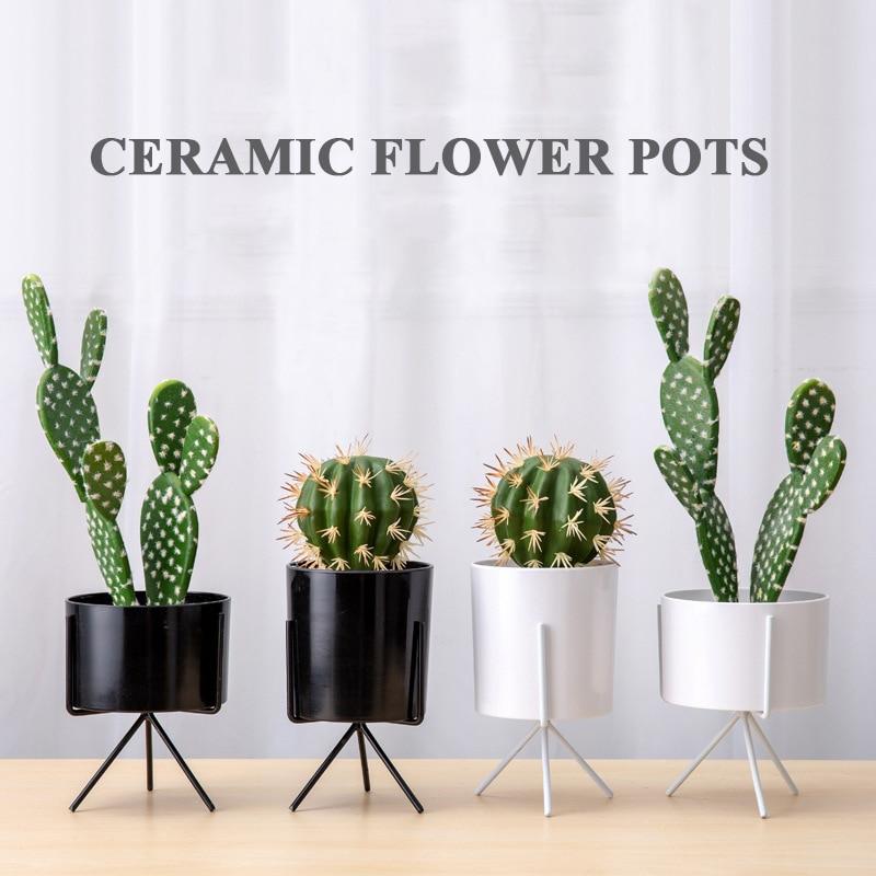 [해외]Ceramic Green Indoor Plant Decoration Modern Nursery Flower Pots Planters Garden Supplies Iron Stainless Steel for Desktop /Ceramic Green Indoor P