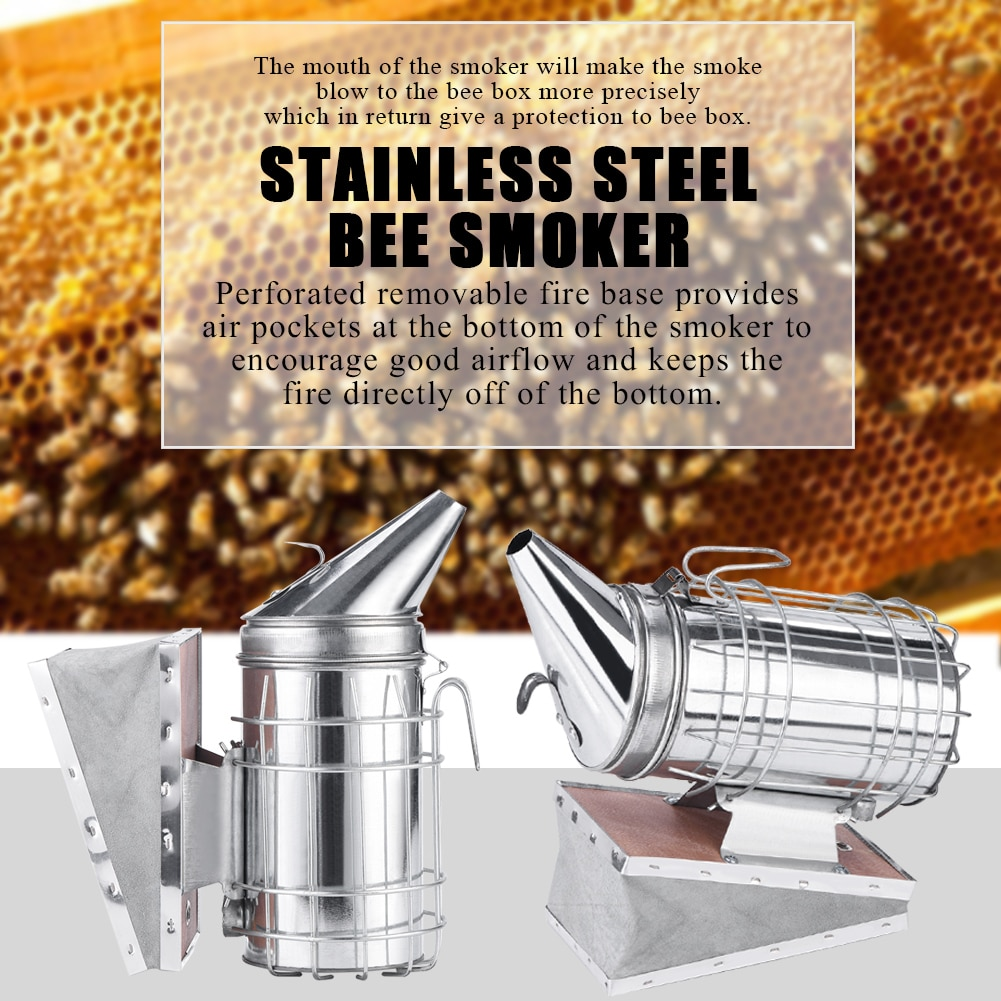 [해외]Stainless Steel Manual Bee Smoke Transmitter Kit Beekeeping Tool Apiculturewith Heat Shield Protection Bee Smoker Beekeeping/Stainless Steel Manua