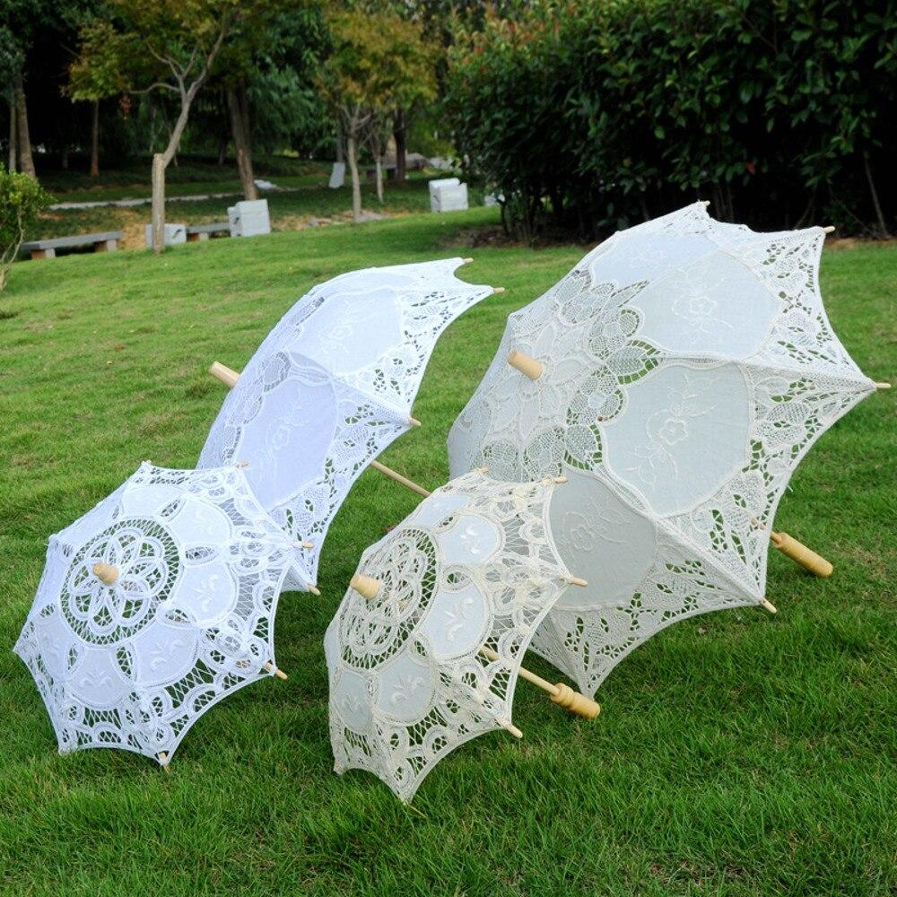 [해외]Creative Lace Parasol wooded Handle Umbrella Vintage Handmade Party Bridal Wedding Decoration/Creative Lace Parasol wooded Handle Umbrella Vintage