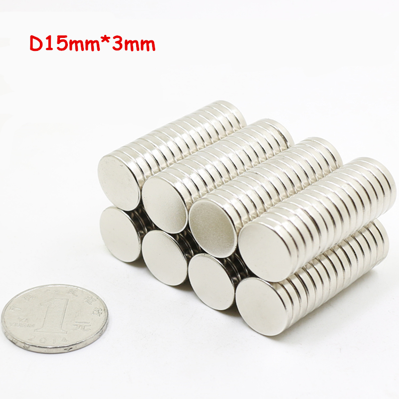 [해외]?100pcs 15mm x 3mm 15x3 N35 네오디뮴 영구 초강력 자석 희토류 NdFeB 자석/ 100pcs 15mm x 3mm 15x3 N35 Neodymium Permanent Super Strong Magnet  Rare Earth NdFeB Magn