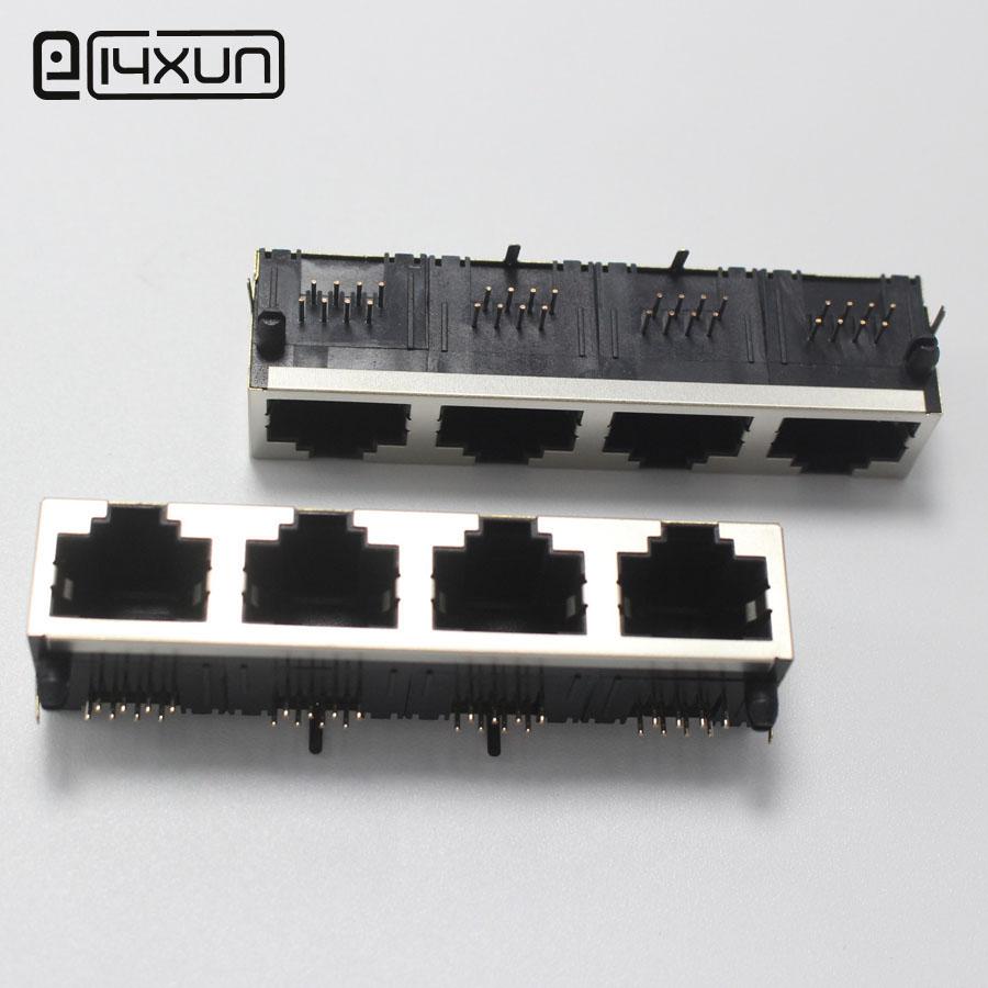 [해외]1pcs RJ45 1 * 4 네트워크 인터페이스 잭 56 1x4 포트 RJ45 암 소켓 PCB ConnectorShield/1pcs RJ45 1*4 Network Interface jack 56 1x4 Port RJ45 Female Socket PCB Conne