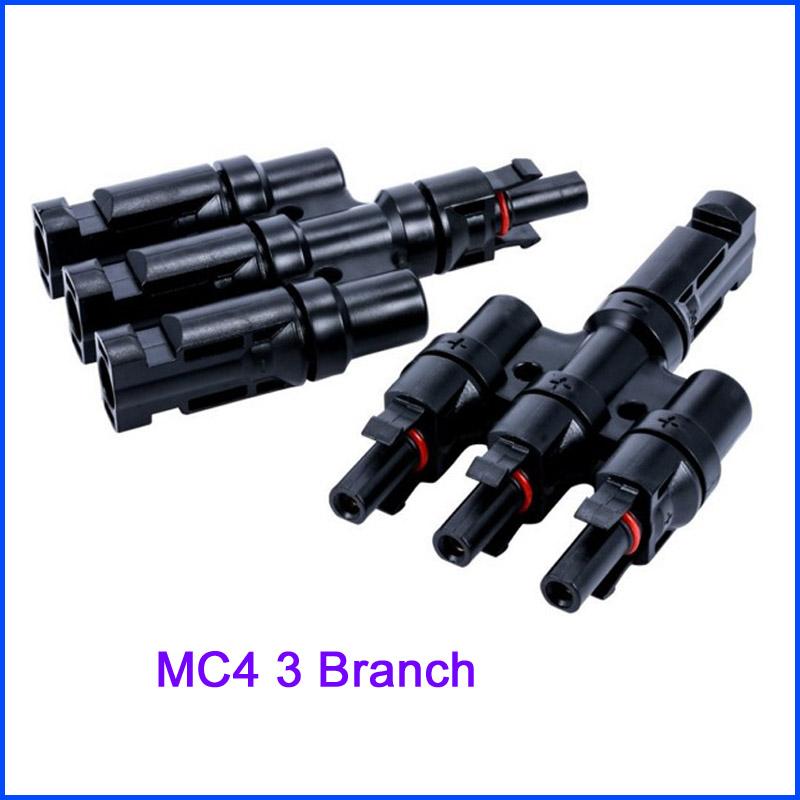 [해외]1Pairs x MC4 3T 커넥터 암수 암, 2 쌍 x MC4 3 분기 솔라 패널 커넥터/1Pairs x MC4 3T Connector male and female, 2 pairs x MC4 3 Branch Solar Panel Connector