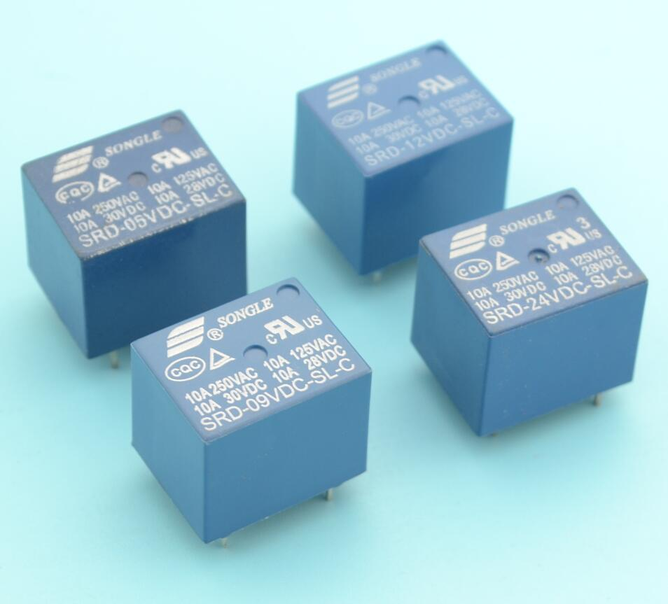 [해외]4pcs 송곳 PCB 릴레이 아니오 + NC 5 개의 핀 5v 9v 12v 24v/4pcs SONGLE PCB Relay NO + NC 5 pins 5v 9v 12v 24v