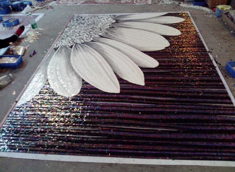 [해외]고전적인 해바라기 벽화 모자이크 _Ice 옥 모자이크 타일 부엌 backsplash 바닥 타일 벽 타일 계단 벽/classic  Sunflower Mural Mosaic _Ice Jade mosaic tile kitchen backsplash floor tile
