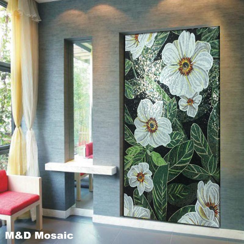 [해외]클래식 파워 리프 화이트 플라워 글래머 벽화 아트 모자이크 타일 _ 천장 바닥 벽 타일 backsplash 장식/Classic Power Leaf  White Flower Glimmer Glass Mural Art mosaic tile_ Ceiling Floor