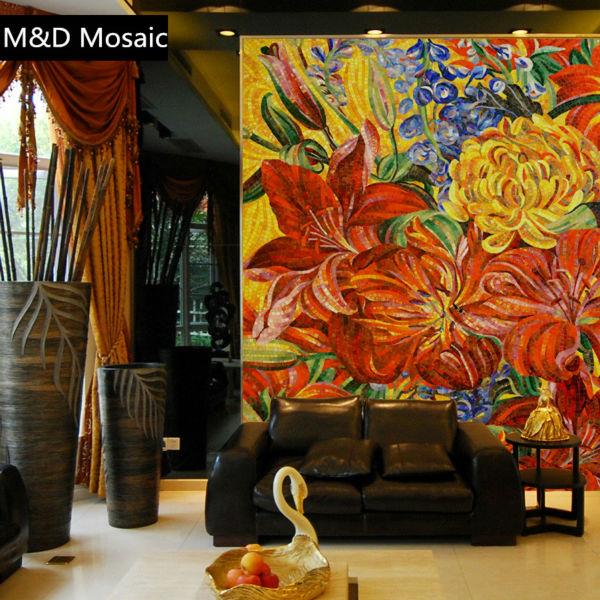 [해외]Munal 노란색 꽃 유리 모자이크 벽화 예술 장식 천장 벽 타일 욕실 거실 주방 backsplash/Munal Yellow Flowers glass mosaic mural art decorative floor ceiling wall tile bathroom l