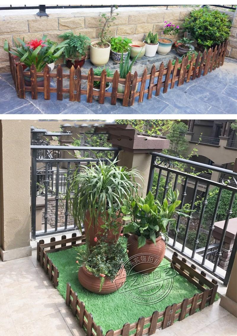 해외 탄화 된 살균 목재 울타리 정원 나무 울타리 발코니 안뜰 장식 화단 나무 울타리 정원 건물