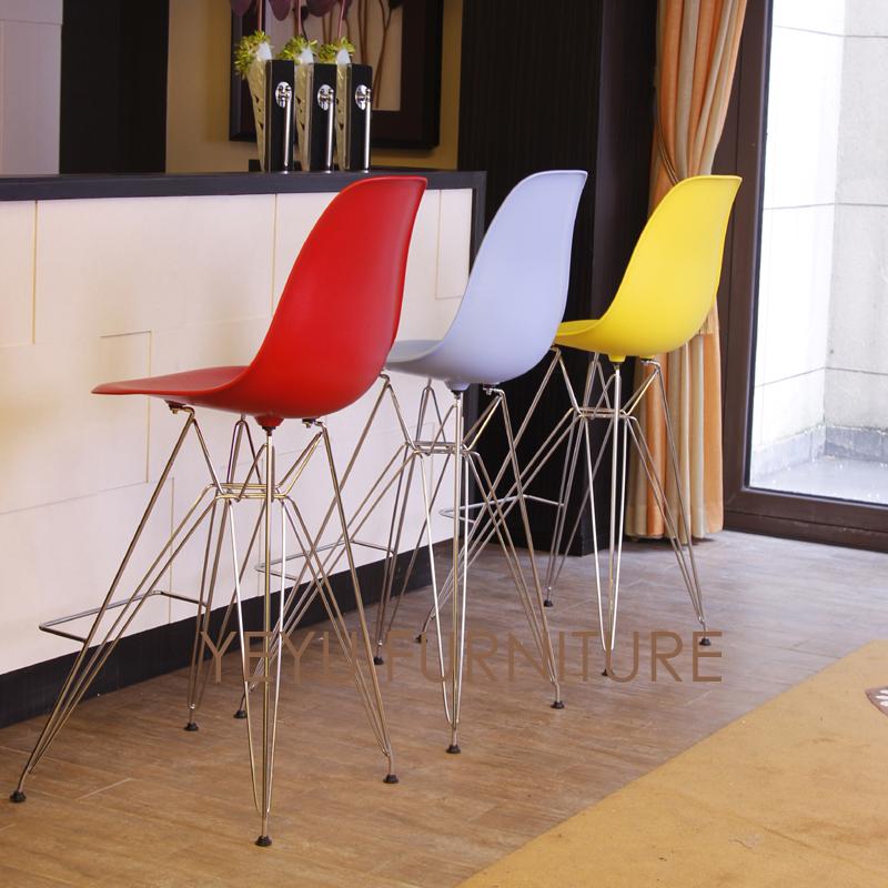 [해외]복제 미니멀리스트 현대 디자인 플라스틱 및 금속 철강 바 의자 도구 의자 거실 인기있는 카운터 의자/Replica Minimalist Modern Design Plastic and metal steel Bar Chair Bar Stool Furniture Liv