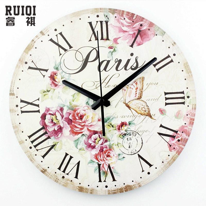 [해외]빈티지 홈 장식 벽 시계 절대적으로 침묵 대형 벽시계 로마 숫자 복고풍 침실 장식 쿼츠 시계 선물/vintage home decor wall clock absolutely silent large size wall clock roman numerals retro