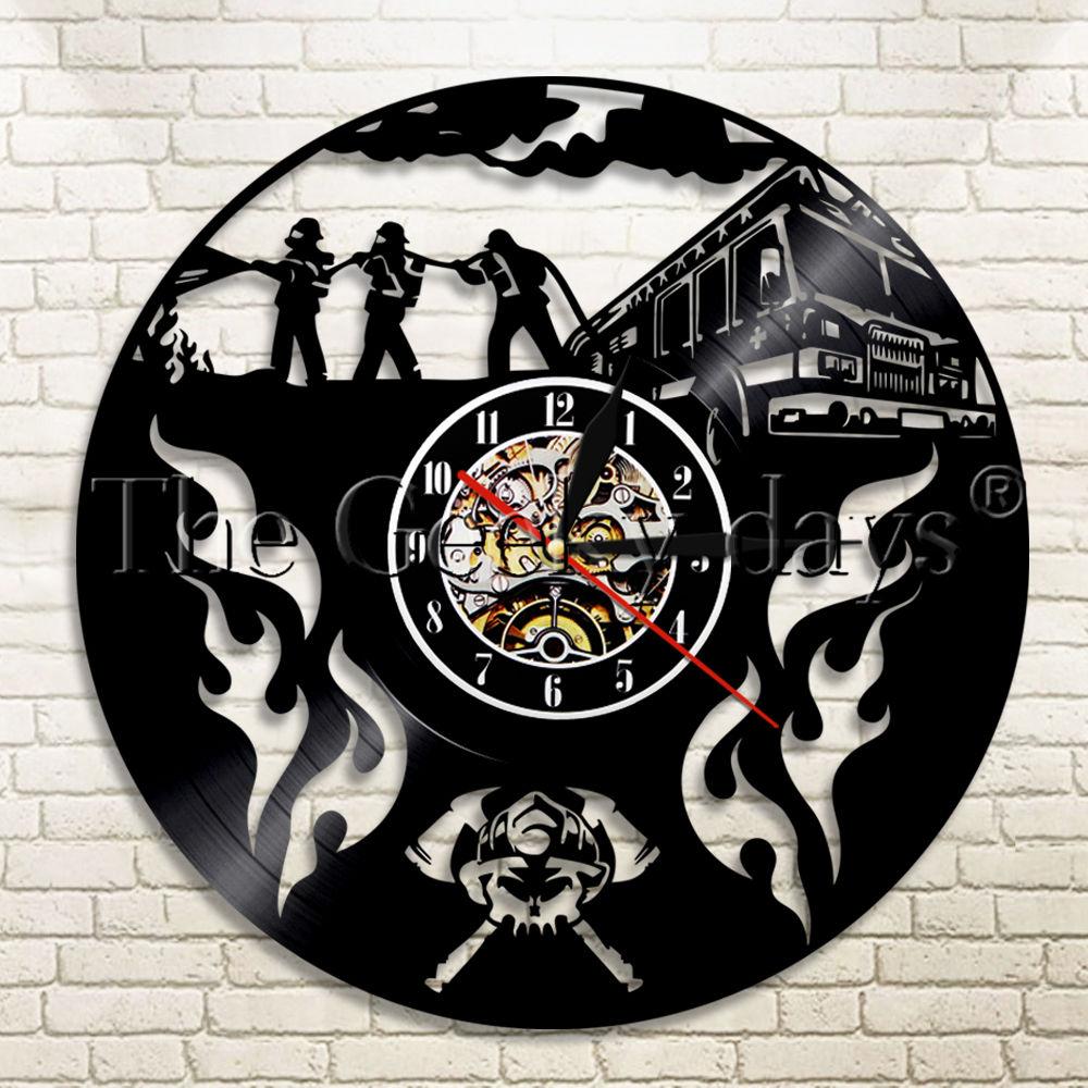 [해외]1 조각 소방관 비닐 레코드 벽 시계 현대 디자인 소방 소방관을소방 홈 장식 벽 시계/1Piece Firefighter Vinyl Record Wall Clock Modern Design Fire Fighting Home Decor Wall Watch For F